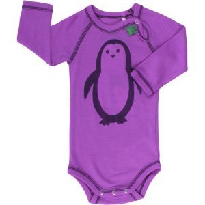 Woll-Langarmbody Pinguin lila - Fred's World by Green Cotton