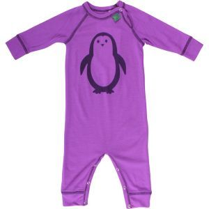 Woll-Pyjama Pinguin lila - Fred's World by Green Cotton