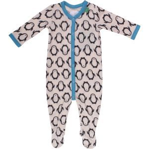 Woll-Strampler weiß-blau mit Pinguindruck - Fred's World by Green Cotton