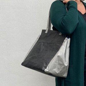 Leichte Shopper-Tasche aus Tyvek© mit Reißverschluss Fiona - schwarz/grau - MoreThanHip