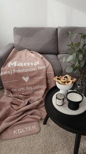 KOLTER Mama Kuscheldecke Wolldecke Wohndecke Decke Bio-Decke Couchdecke aus Bio-Baumwolle - Kolter