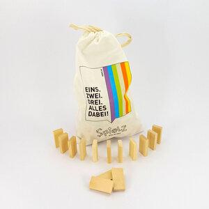 Zirben-Dominosteine im Baumwollbeutel - SPIELZ - Spiel mit Holz