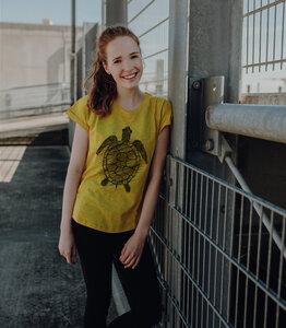 Frauen Raglan Slub Shirt mit Schildkröte aus Biobaumwolle Hergestellt in Portugal - ilovemixtapes