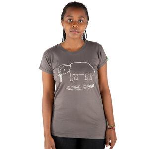 "Damen T-Shirt aus Bio-Baumwolle ""Elephant"" Dunkelgrau - Kipepeo-Clothing"