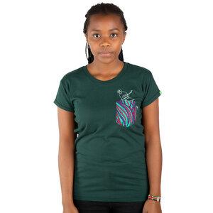 """Damen T-Shirt aus Bio-Baumwolle mit Brusttasche  """"Taschenpapagei"""" Dunkelgrün - Kipepeo-Clothing"""