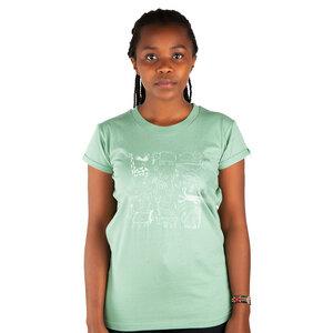"Damen T-Shirt aus Bio-Baumwolle ""Serengeti"" Mintgrün - Kipepeo-Clothing"