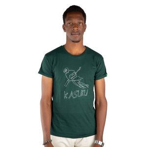 "Herren Print T-Shirt aus Bio-Baumwolle ""KASUKU"" Dunkelgrün - Kipepeo-Clothing"