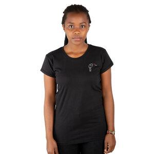 "Damen T-Shirt aus Bio-Baumwolle ""Love You"" schwarz - Kipepeo-Clothing"