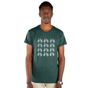 """Herren Print T-Shirt aus Bio-Baumwolle """"BAISIKELI V.2"""" Dunkelgrün - Kipepeo-Clothing"""