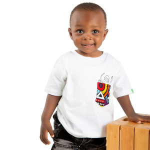 "Kinder T-Shirt aus Bio-Baumwolle ""NYANI"" Weiß - Kipepeo-Clothing"