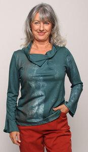 Feine Bluse aus TENCEL TM Lyocell mit Kunstdruck Eichenträume in Petrol - Peaces.bio - handbedruckte Biomode
