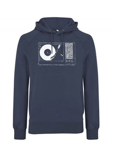 Plattenspieler UNISEX Hoodie Denim Blue Fair Wear, Bio und Vegan. - ilovemixtapes