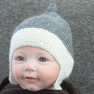 Baby-Häkelmütze Zipfelmütze von tuchmacherin grau-wollweiß - tuchmacherin - handgewebtes design + filz
