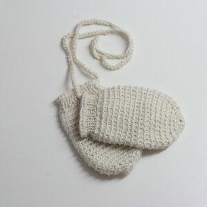 Baby-Fäustlinge wollweiß - tuchmacherin - handgewebtes design + filz