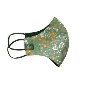 Alltagsmaske in Grün Schwarz mit Blüten, zweilagig aus Bio-Baumwolle - WiDDA berlin