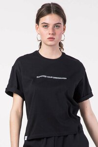 "Cropped T-Shirt ""Empower"" schwarz - [eyd] humanitarian clothing"