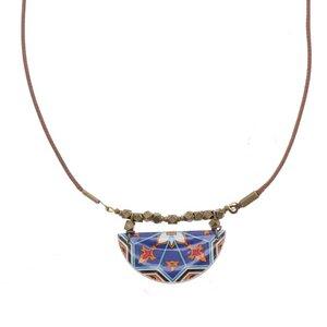 Halskette mit handgemachter farbiger Mosaikfliese - Aryana - Papital