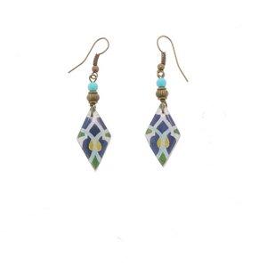 Ohrhänger mit handgemachter farbiger Mosaikfliese - Cyra - Papital