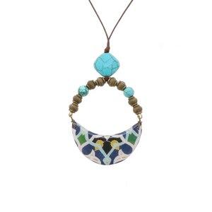 Halskette mit handgemachter farbiger Mosaikfliese - Cyra - Papital