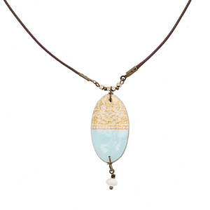 Halskette mit handgemachter farbiger Mosaikfliese - Soraya - Papital
