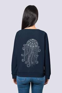 Yoga Qualle, Frauen Premium Pullover, Sweatshirt aus Bio Baumwolle Wal Print - vis wear
