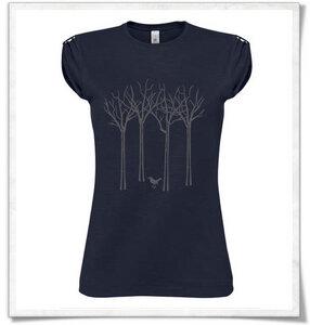 Vogel im Wald T-Shirt  in navy blau / dunkelblau  für Frauen - Picopoc