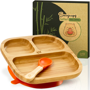 Saugnapf Kinderteller inkl. Löffel | Snackteller Babyteller Kindergeschirr - Bambuswald