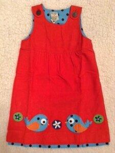 Cord-Kleid rot mit Vögelchen - Frugi