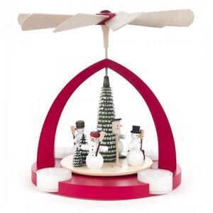 Pyramide mit Schneemänner für Teelichter in rot oder natur - Dregeno