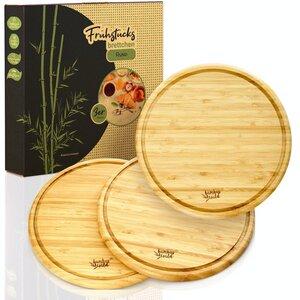 3er Set Frühstücksbrettchen / Schneidebretter aus 100% Bambus - Bambuswald