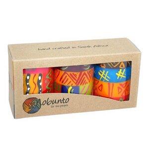 Kerzen Geschenkset - SHAHIDA / BONGAZI / KAPOKO - 3 x Stumpenkerze 5x7cm - nobunto Südafrika - Nobunto