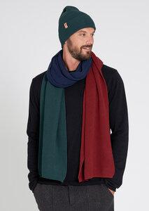 Schal aus Bio Baumwolle rot/grün/navy | Knit Scarf #TRICOLOR - recolution