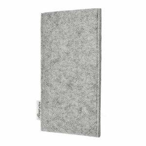 Handyhülle PORTO für Apple iPhone - 100% Wollfilz - hellgrau - Filz Schutz Tasche - flat.design