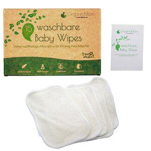 15 waschbare Baby Reinigungstücher aus Bambus, inkl. Wäschenetz, hypoallergen & antibakteriell, Baby Waschlappen - OrganicMom®