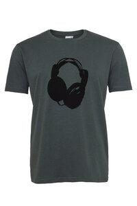 Herren T-Shirt mit Kopfhörer aus Biobaumwolle, Made in Portugal ILP06 - stormy weather grau - ilovemixtapes