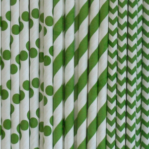 Strohhalme aus Papier 'Mix grün' - Green Mood
