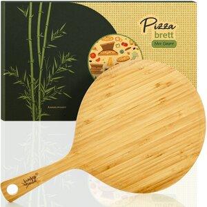Pizzabrett mit Griff | Pizzaschaufel Flammkuchenbrett Pizzaheber Pizzaschieber - Bambuswald