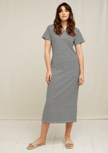Midi Kleid gestreift - Darika Stripe Dress - aus Bio-Baumwolle  - People Tree
