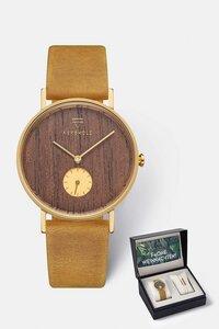 Geschenk - Box mit Damenuhr und Armband 'FRIDA' & 'Rectangle Bracelet' - Kerbholz