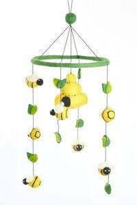 Mobile mit Bienenstock und Bienen, handgefilzt - short'n'pietz