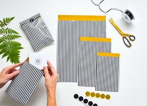 Geschenktüten 9er Set mit schwarz-weiße Streifen - renna deluxe