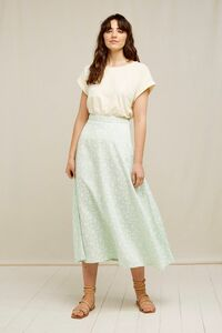 Tencel Midi Rock - Alison Silhouette Floral Skirt - People Tree