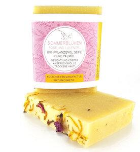 Sommerblühen Bioseife Rose & Lavendel für trockene Haut - Zertifizierte Biokosmetik - Küstenseifen Manufaktur