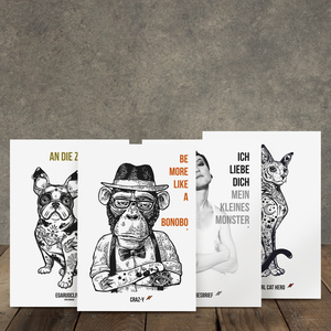 Postkarte, Bonobo & friends, Set zu 4 Stück, Recyclingpapier, WEARETHEFUCKINGLEADERS - WEARETHEFUCKINGLEADERS