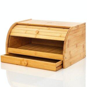 Brotbox aus Bambus mit Schublade für Brotmesser | Brotkasten Brotaufbewahrung - Bambuswald