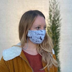 Mund- und Nasen-Maske / Behelfsmaske / Jersey - Pünktchen Komma Strich