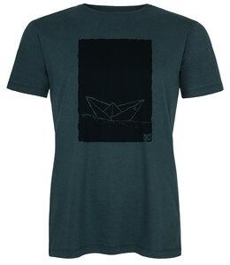 Herren T-Shirt Paperboat 2.0 aus Biobaumwolle teal black ILK01 Made in Kenia - ilovemixtapes