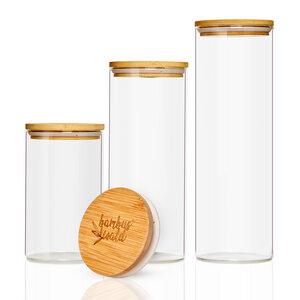 Vorratsgläser  / Glasbehälter Set mit Deckel aus 100% Bambus - 150ml, 300ml, 600ml  - Bambuswald