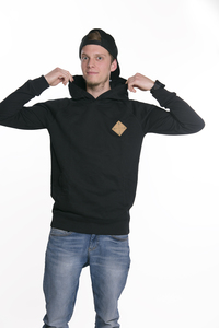 "Herren Kapuzenhoody ""ELKapuze"" in black - ecolodge fashion"