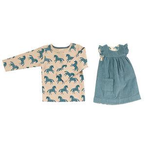 Set Wende-Kleid ohne Arm mit Langarmshirt Pferde Organics for Kids Winter Shift marlin - Organcis for kids Pigeon